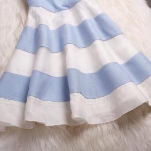 Embroidered Organza Striped Skirt F..