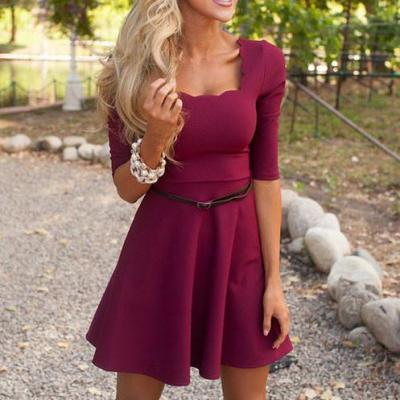 Sexy Solid color short-sleeved dress