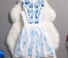 Blue and white porcelain style Sleeveless Slim Dress MFi