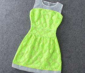 Fashion Jacquard fluorescent green dress XXA621006
