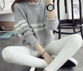 Loose long-sleeved striped sweater 5306701