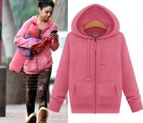 Cute pink hooded zipper jacket 7095814