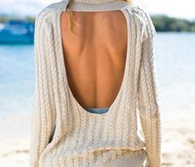 SEXY BACKLESS LAPEL LONG-SLEEVED SWEATER L15284