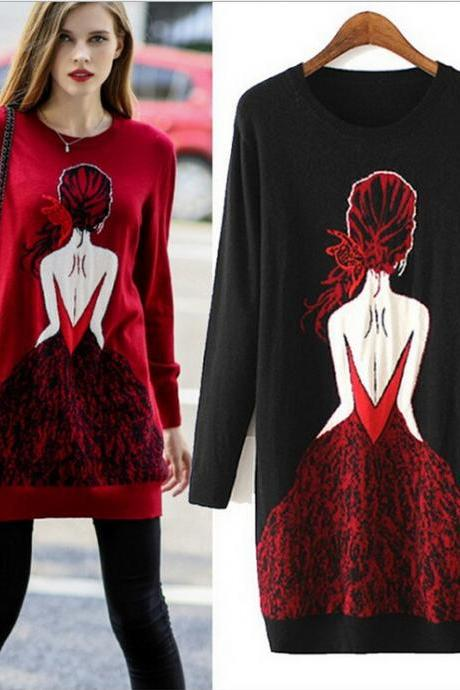 Fashion round neck printing long knitted sweater 1928716