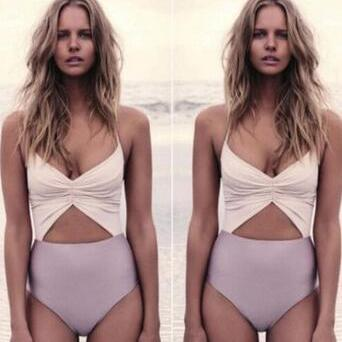 HOLLOW SLING HIGH WAIST ONE PIECE SWIMSUIT SWIMWEAR LX681VP
