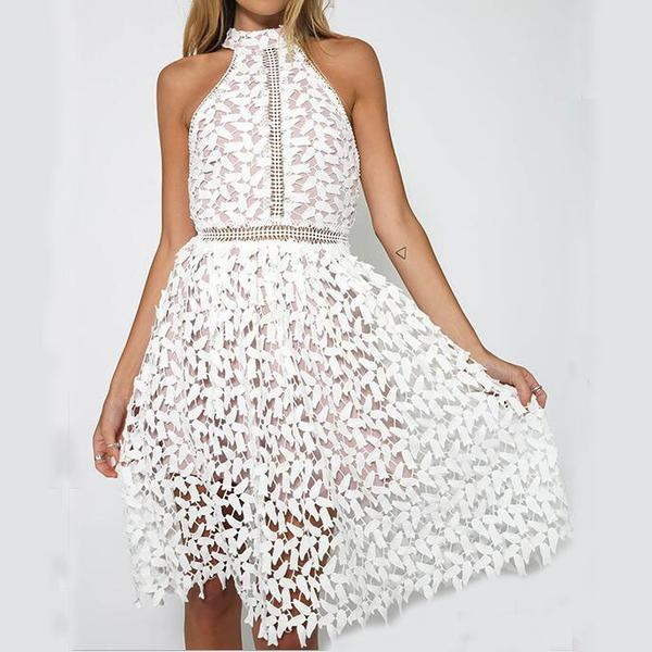 White Lace Knee Length Dress Featuring Halter Neck